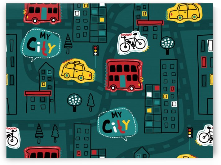 seamless pattern hand drawn with vehicles buildings road by Shamudy