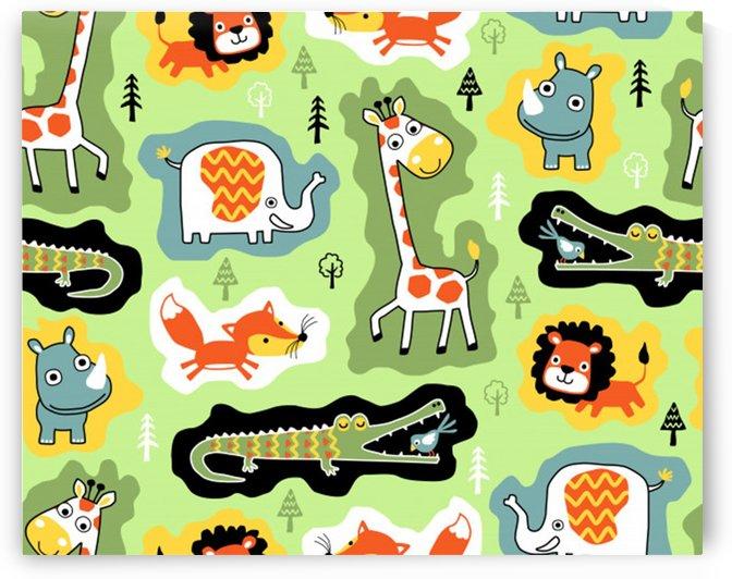 seamless pattern with wildlife animals cartoon by Shamudy