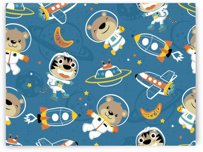 seamless pattern funny astronaut outer space transportation by Shamudy