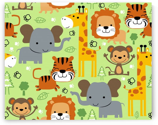 seamless pattern vector with animals wildlife cartoon by Shamudy