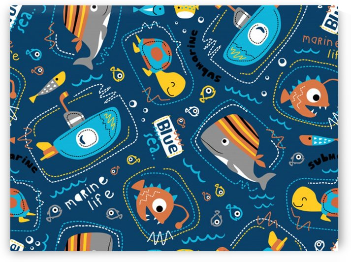 seamless pattern vector submarine with sea animals cartoon by Shamudy