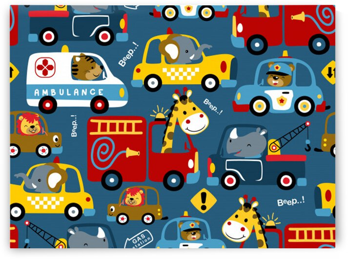 seamless pattern vehicles cartoon with funny drivers by Shamudy