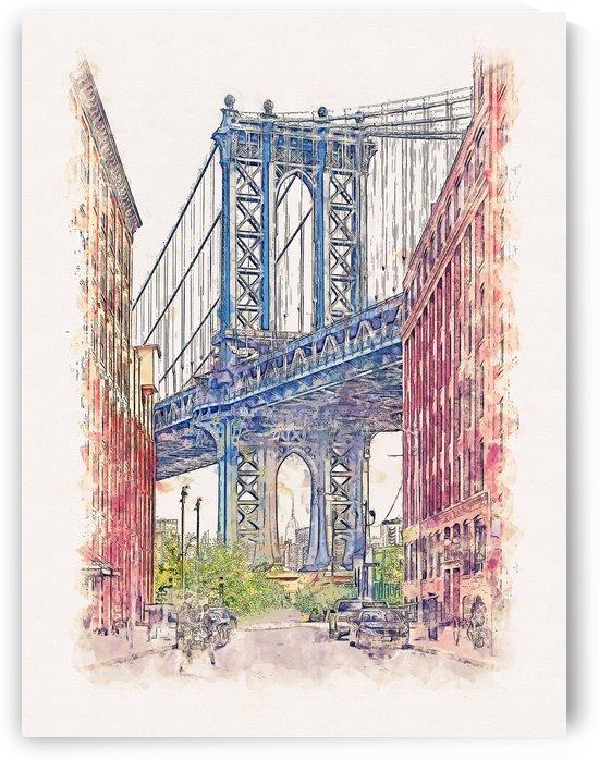 Manhattan Bridge NY Watercolor 01 by Apolo Prints