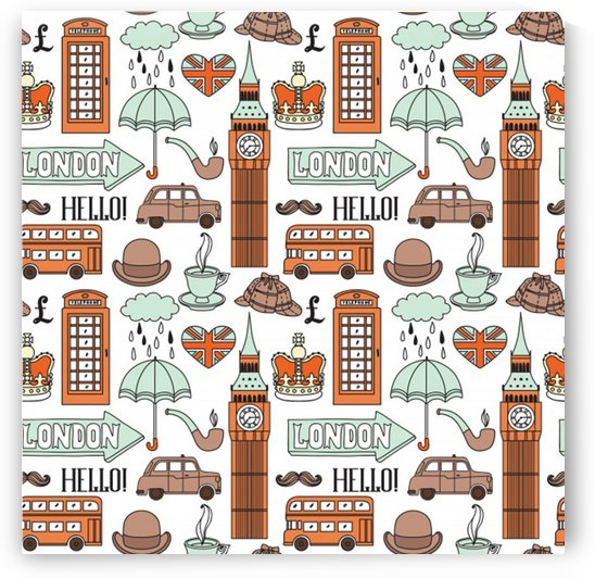 seamless pattern with london elements landmarks by Shamudy