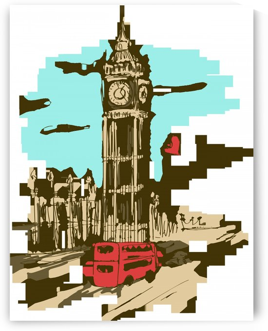big ben paris clock tower vector painted london by Shamudy