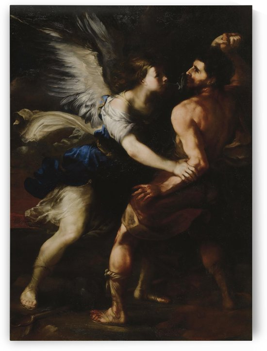 Jacob wrestling with the angel by Luca Giordano