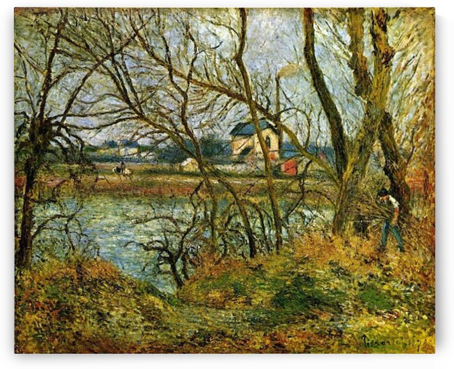 Grey day on the banks of the Oise at Pontoise by Pissarro by Pissarro