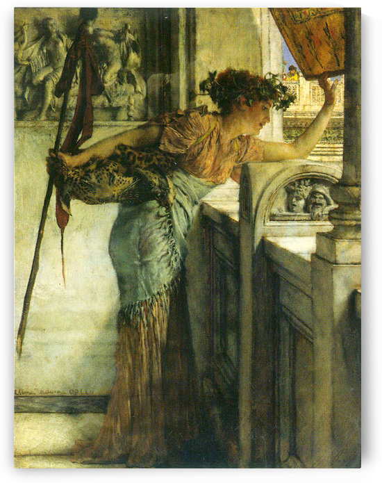 A Bacchantin - There he is!  by Alma-Tadema by Alma-Tadema