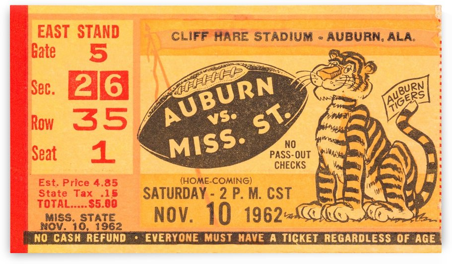 row one 1962 Auburn vs. Mississippi State football ticket stub by Row One Brand