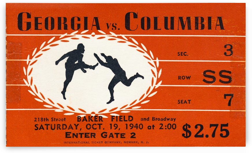 1940 Georgia vs. Columbia by Row One Brand
