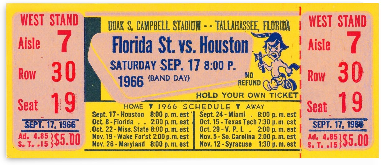 florida state seminoles ticket stub art by Row One Brand