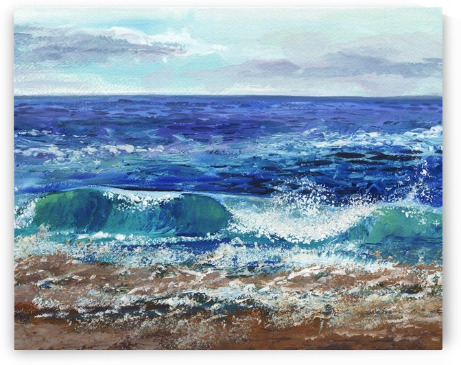 Seascape Dramatic Wave At The Ocean Shore by Irina Sztukowski