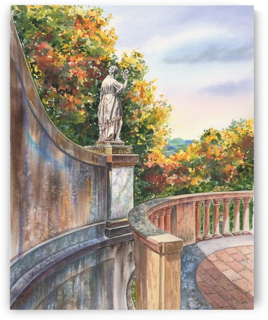 Boboli Gardens Florence Italy Watercolor by Irina Sztukowski