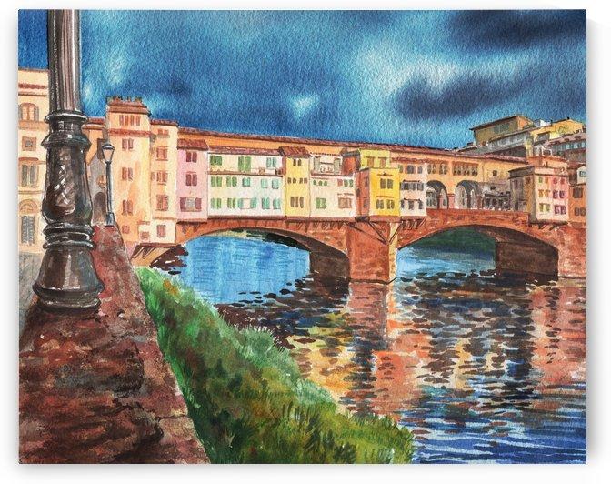 Italy Florence Ponte Vecchio Watercolor by Irina Sztukowski