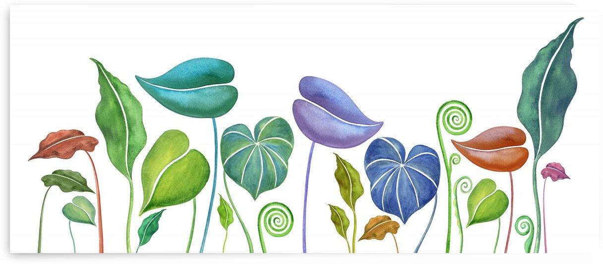 Exotic Colorful Botanical Leaves In Watercolor  by Irina Sztukowski