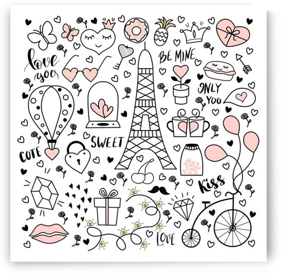 big collection with hand drawn objects valentines day by Shamudy