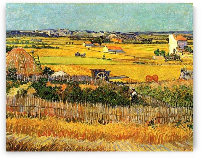 Harvest at La Crau with Montmajour in the Background by Van Gogh by Van Gogh
