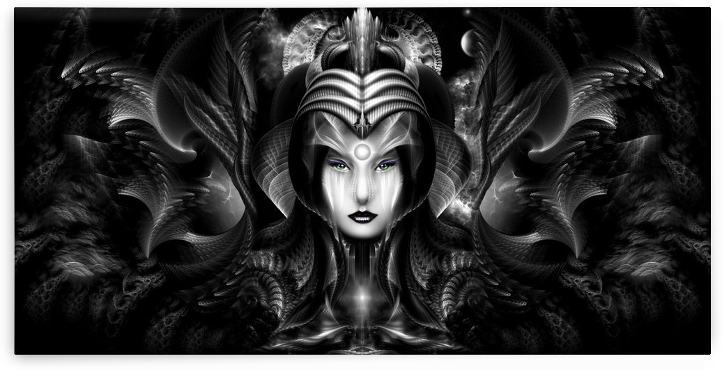 Cyiria Queen Of The Dark Realm Fractal Portrait by xzendor7