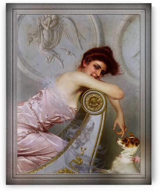 A Young Lady With Her Puppy by Vittorio Matteo Corcos Old Masters Reproduction by xzendor7
