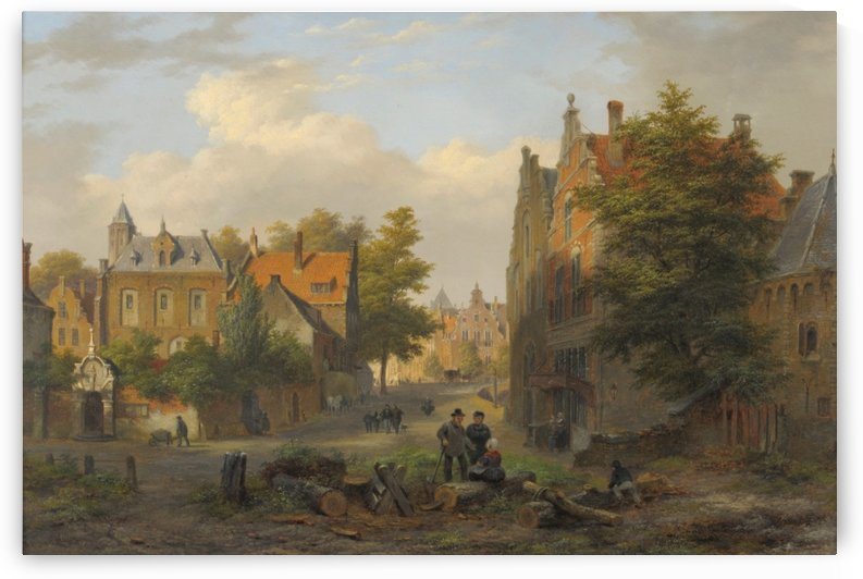 View of a town with figures in conversation by Bartholomeus Johannes van Hove