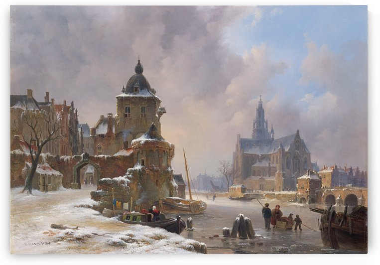 Winter cityscape with frozen river by Bartholomeus Johannes van Hove