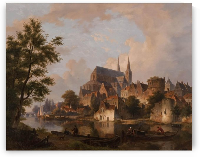 Capriccio stadsgezicht, elementen Deventer by Bartholomeus Johannes van Hove