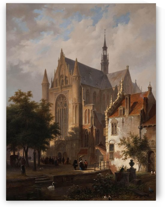 Leaving Church in Leyden, Bart and Huib van Hove by Bartholomeus Johannes van Hove