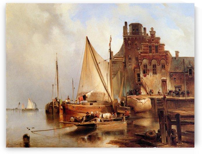 Hove van H - The ferry - Sun by Bartholomeus Johannes van Hove