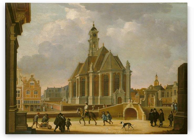 De Nieuwe Kerk aan het Spui gezien vanuit het oosten, 1650 by Bartholomeus Johannes van Hove