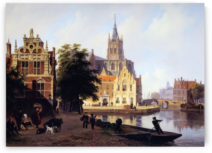 City view with canal Sun by Bartholomeus Johannes van Hove