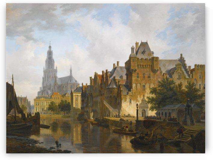 A Capriccio View Of The Hofvijver, The Hague by Bartholomeus Johannes van Hove