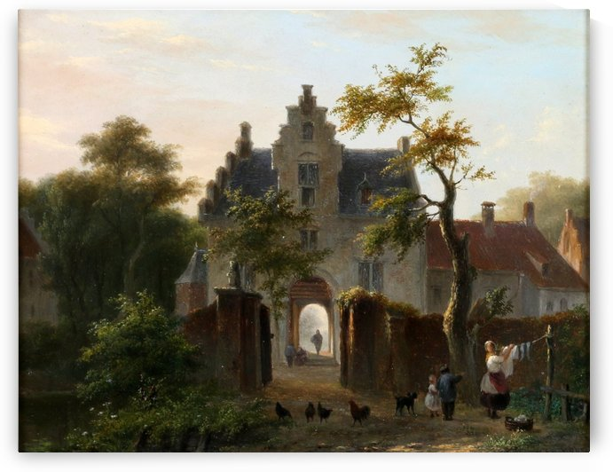 A woman hanging the wash in front of the gates by Bartholomeus Johannes van Hove