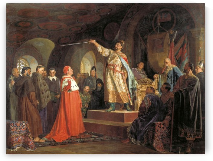 Roman of Halych receives an ambassador from Pope by Nikolai Vasilyevich Nevrev