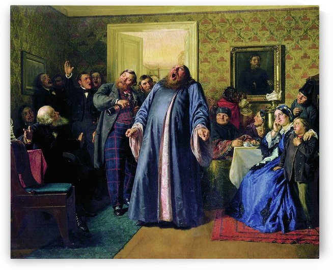 Protodeacon proclaiming longevity at the merchant birthday party by Nikolai Vasilyevich Nevrev