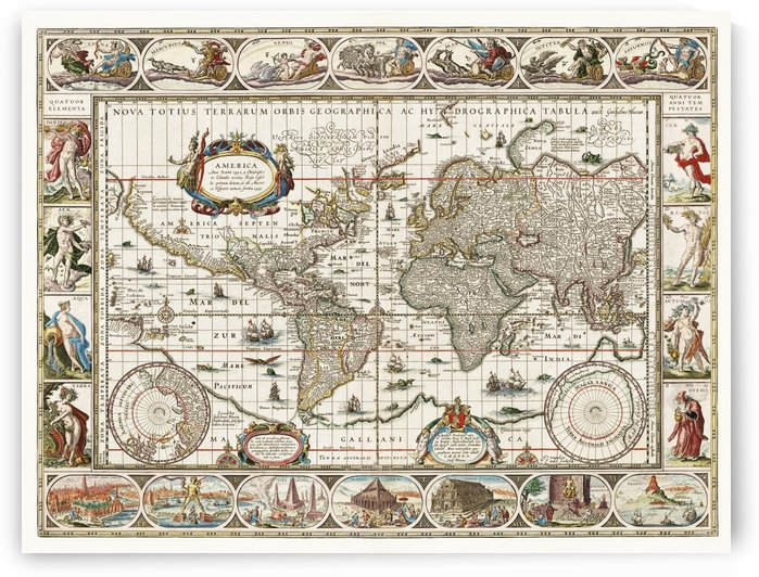 A New Map of the Whole World Galion ca. 1635-1650 by Four Beautiful Sunsets