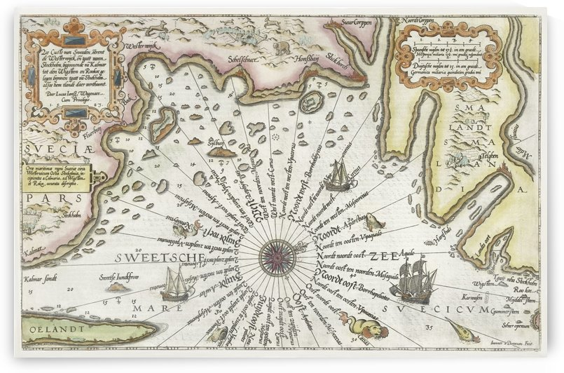 Map of the Coast of Sweden Between Kalmar and Stockholm ca. 1580–1583  by Four Beautiful Sunsets