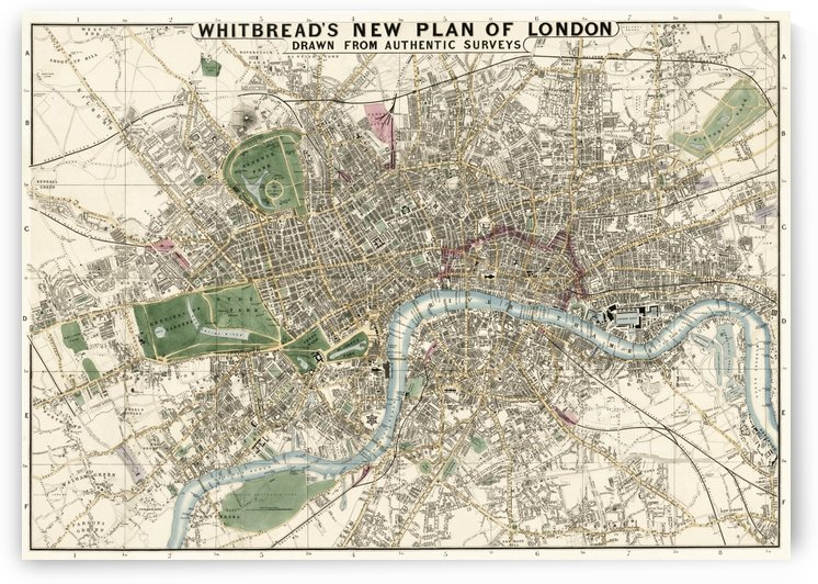 Whitbreads New Plan of London 1853  by Four Beautiful Sunsets