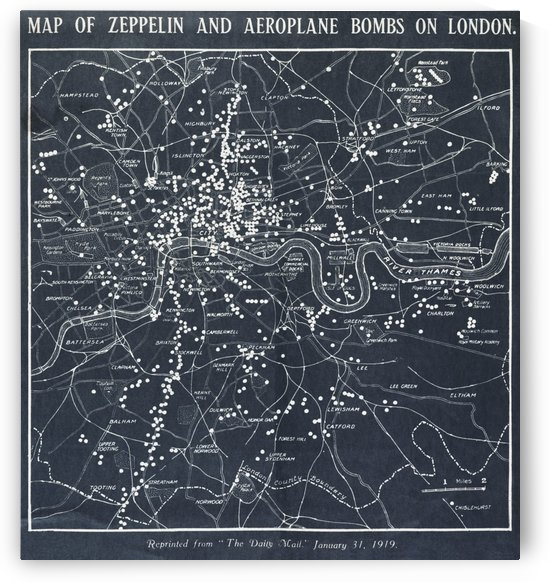 1919 Map of London Bombings by Four Beautiful Sunsets