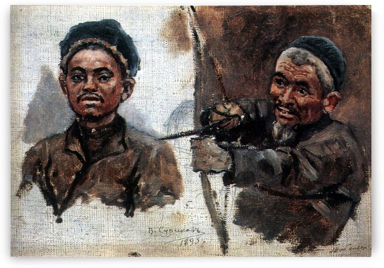 Tatar's heads (old and young) by Vasily Surikov
