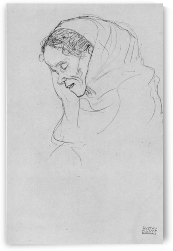 Head of an old woman in profile by Klimt by Klimt