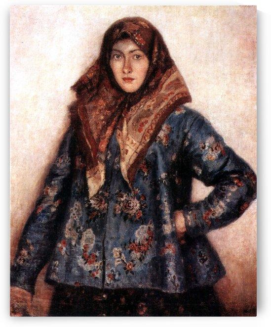Portrait of L. T. Matorina. Cossack woman by Vasily Surikov