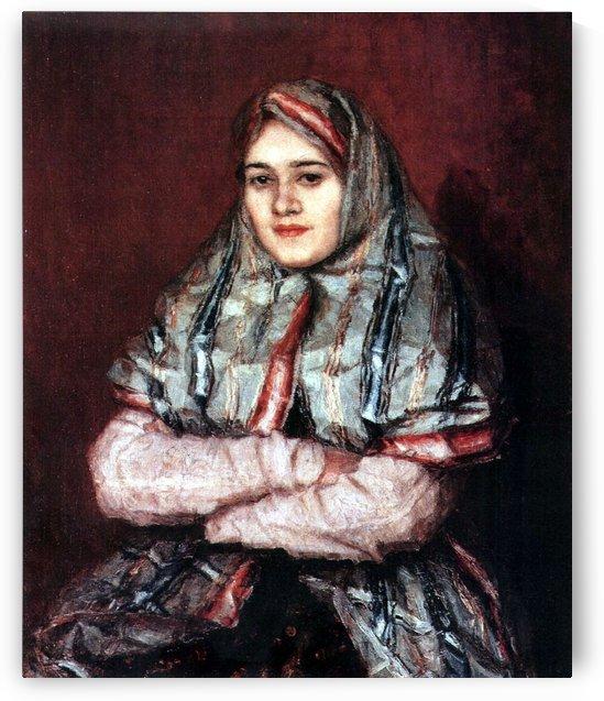 Portrait of Alexandra I. Yemelyanova nee Schrader - 1902 by Vasily Surikov