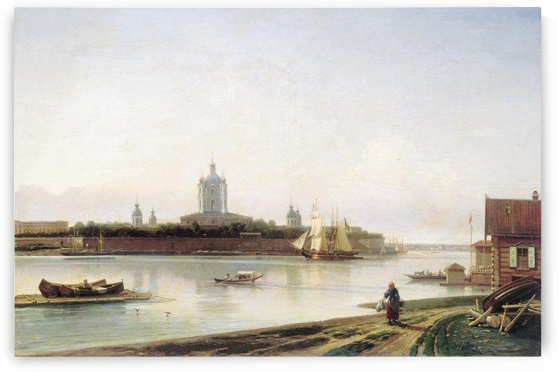 Smolny as seen from Bolshaya Okhta by Alexey Bogolyubov