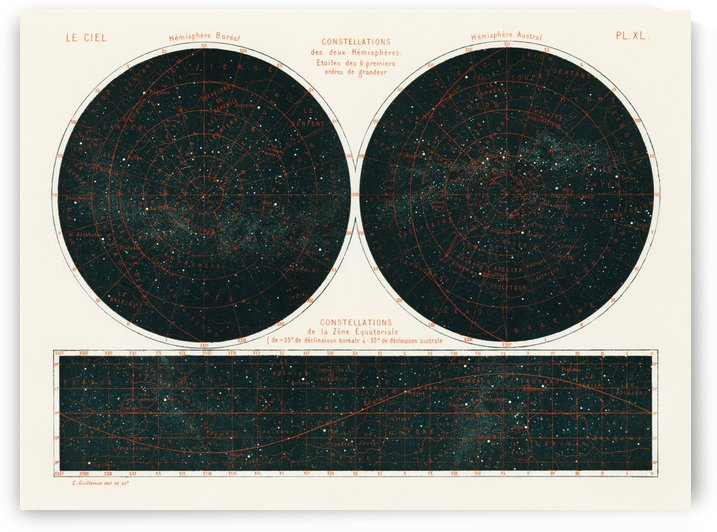 Constellations of the Two Hemispheres 1877 by Four Beautiful Sunsets