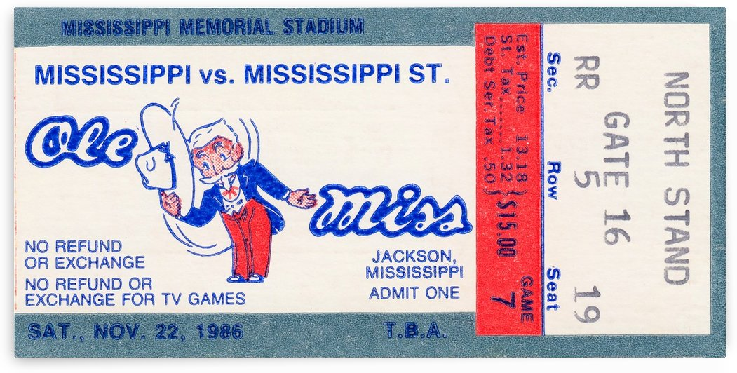 ole miss football ticket pictures by Row One Brand