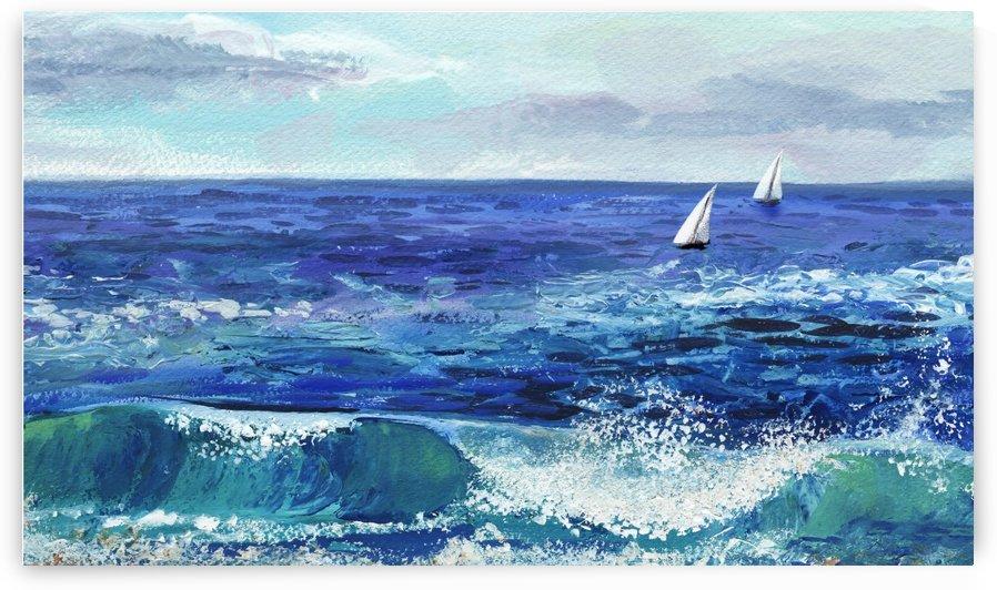 Two Boats In The Ocean Seascape Painting by Irina Sztukowski