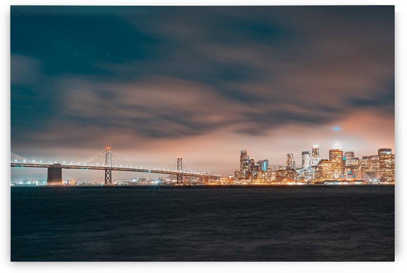 Cloudy San Francisco Night Skyline by David Yoon