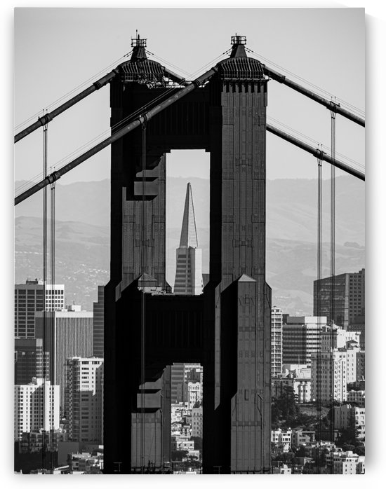 Threading the Needle - Golden Gate Bridge in Black and White by David Yoon
