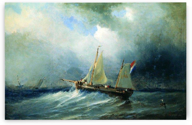 Sailboat in the sea by Alexey Bogolyubov