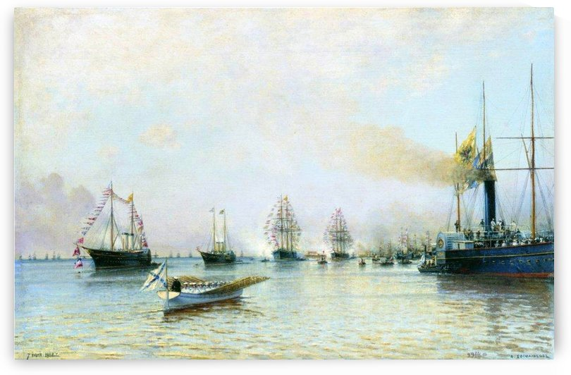 Parade of ships of the Baltic fleet on the occasion of the arrival of the German fleet in 1888 by Alexey Bogolyubov
